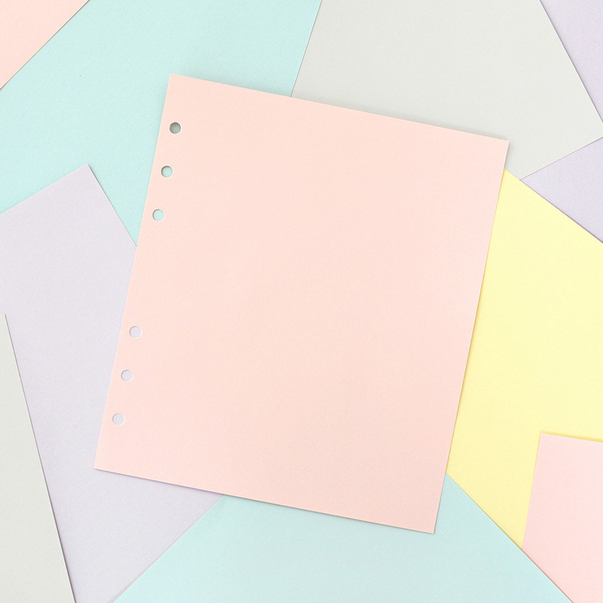 Pastel colored 6-ring A6 wide blank notebook refills set