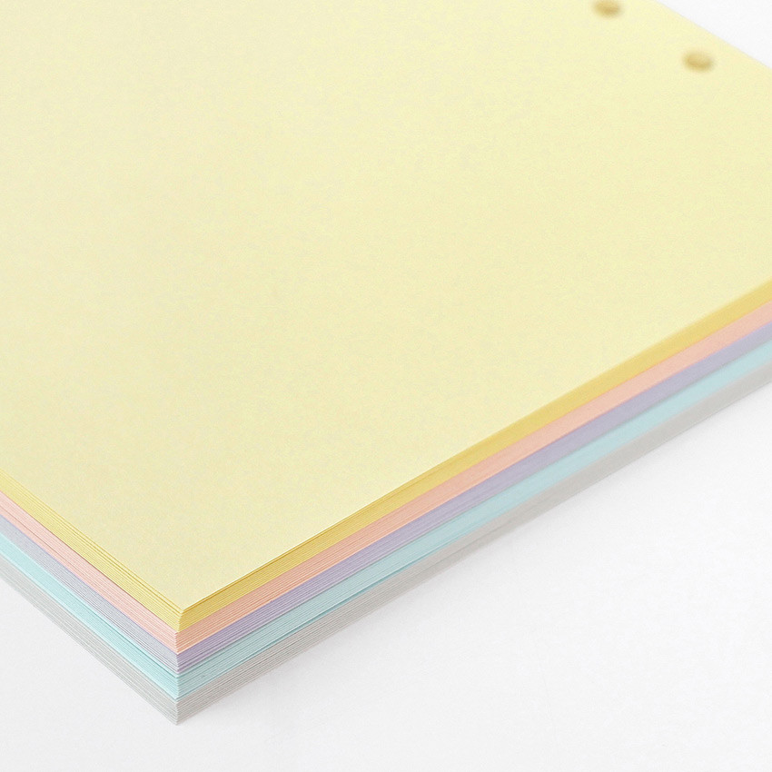 120gsm paper - Pastel colored 6-ring A6 wide blank notebook refills set