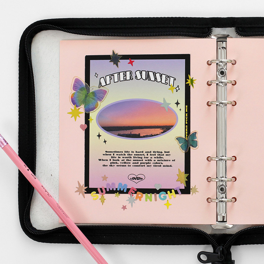 Usage example - Pastel colored 6-ring A6 wide blank notebook refills set