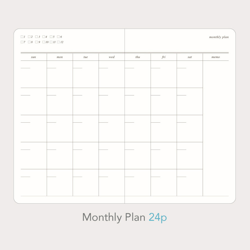 Monthly plan - Paperian Florence small undated daily diary journal