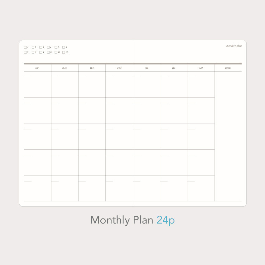 Monthly plan - Paperian Florence large undated daily diary journal