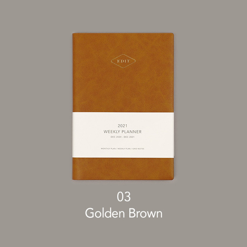 Golden brown - Paperian 2021 Edit B6 dated weekly planner