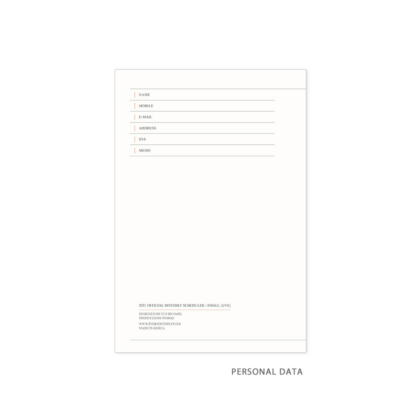 Personal data - Indigo 2021 Official small dated monthly planner scheduler