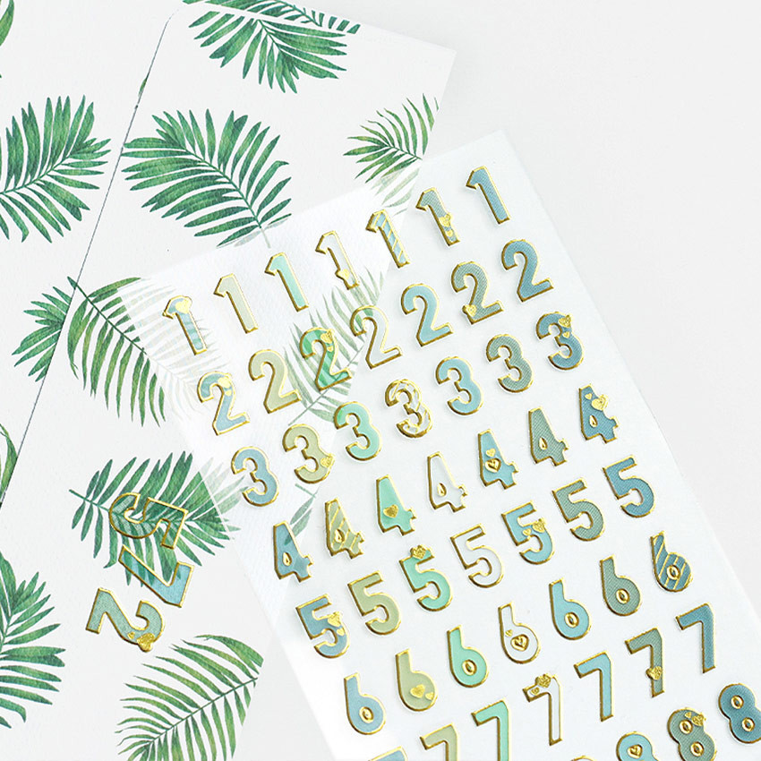 Gold silhouette Alphabet and Number removable sticker set