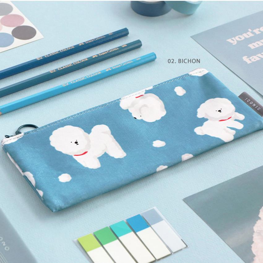 02. Bichon - ICONIC Comely flat zipper pencil case