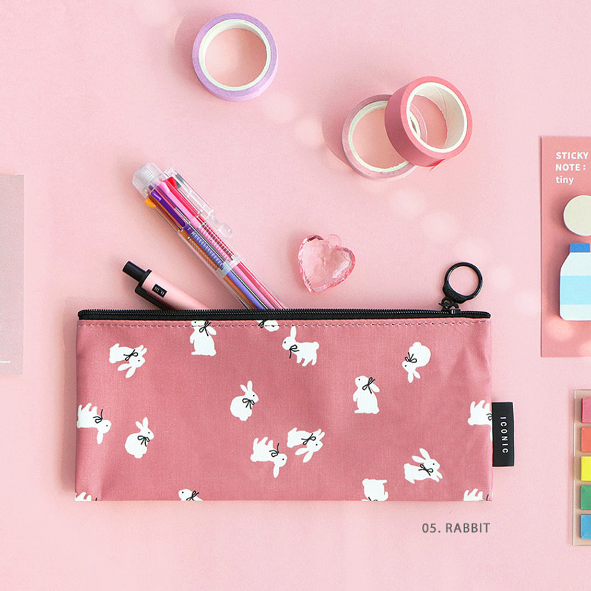 05. Rabbit - ICONIC Comely flat zipper pencil case