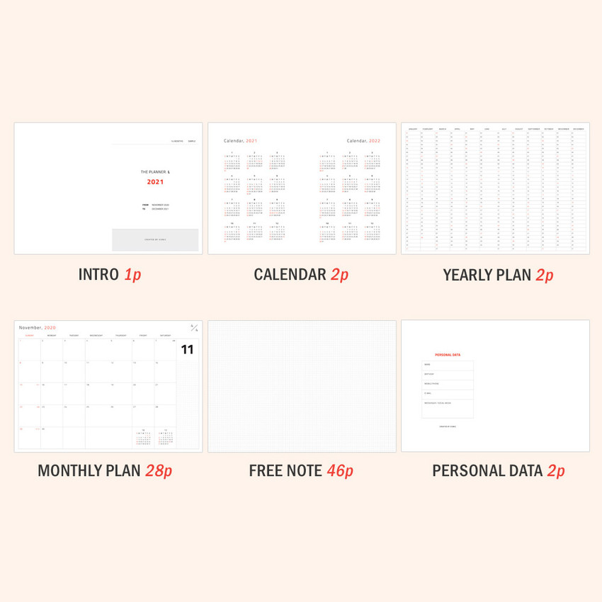 Planner sections - Iconic 2021 Simple large dated monthly planner