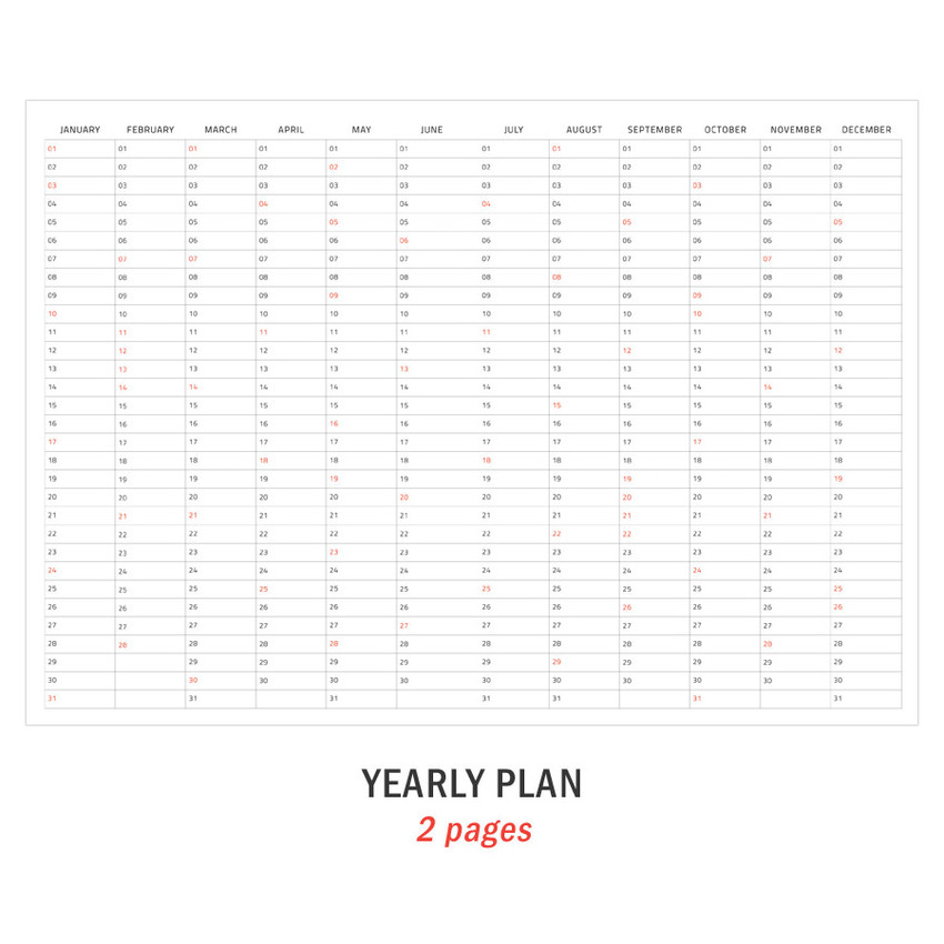 Yearly plan - Iconic 2021 Simple large dated monthly planner