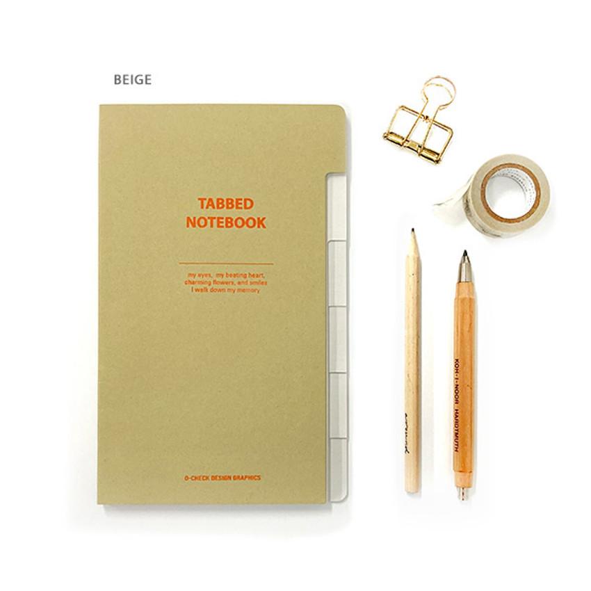 Beige - O-check Index tabbed pocket grid notebook