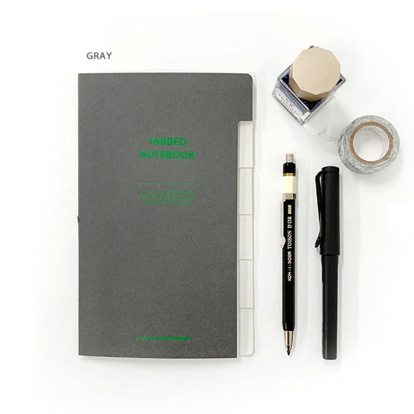 Gray - O-check Index tabbed pocket grid notebook