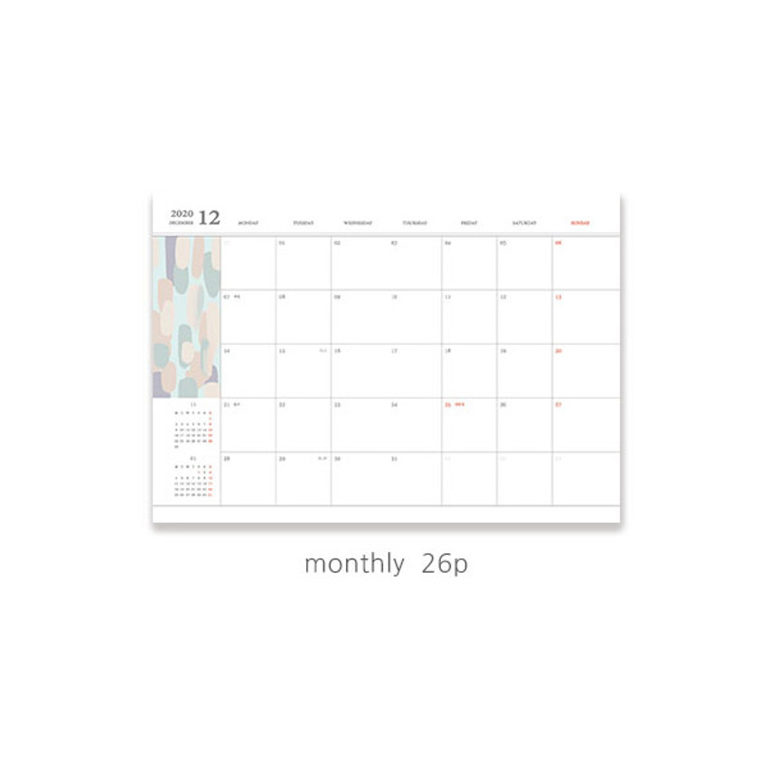 Monthly plan - O-check 2021 Les beaux jours dated weekly diary planner