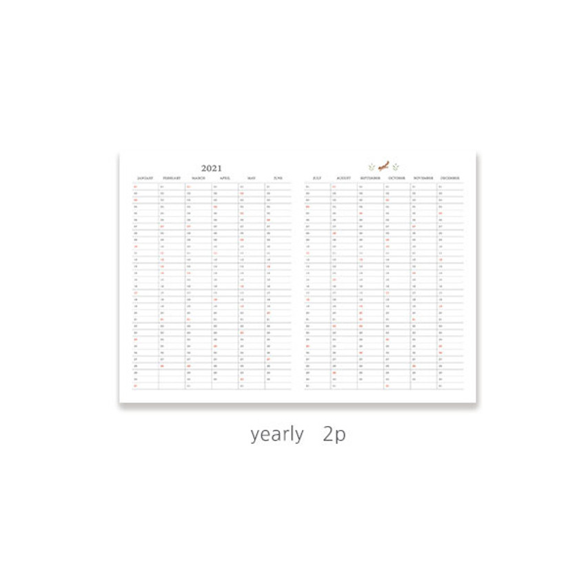 Yearly plan - O-check 2021 Les beaux jours dated weekly diary planner