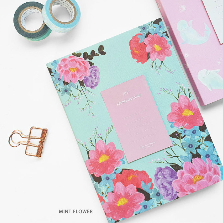 Mint Flower - O-check 2021 Les beaux jours dated weekly diary planner