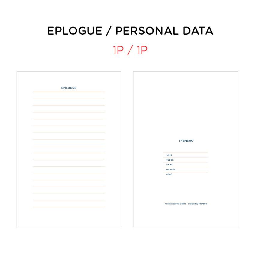 Epilogue & Personal data - GMZ Brilliant dateless daily planner scheduler
