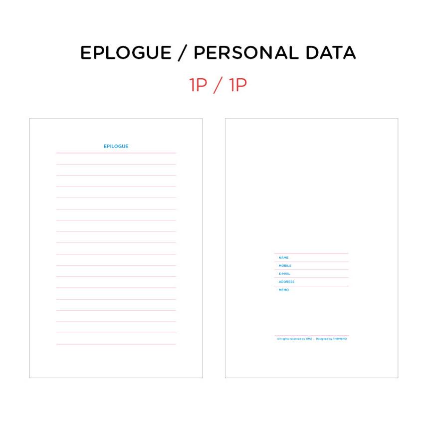 Epilogue & Personal data - GMZ Brilliant dateless monthly planner scheduler
