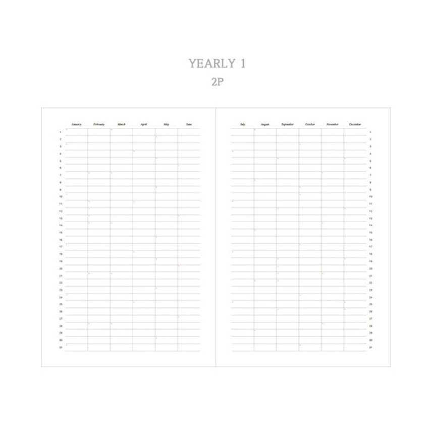 Yearly plan 1 - Dash And Dot 2021 Moon small dated weekly diary planner