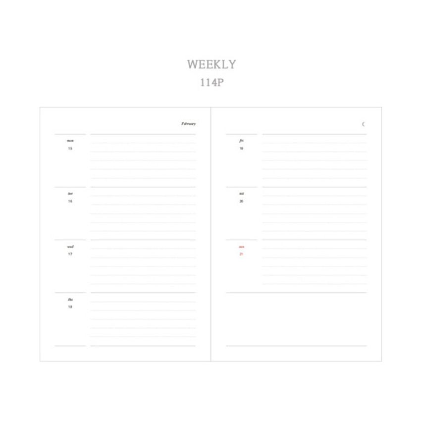 Weekly plan - Dash And Dot 2021 Moon small dated weekly diary planner