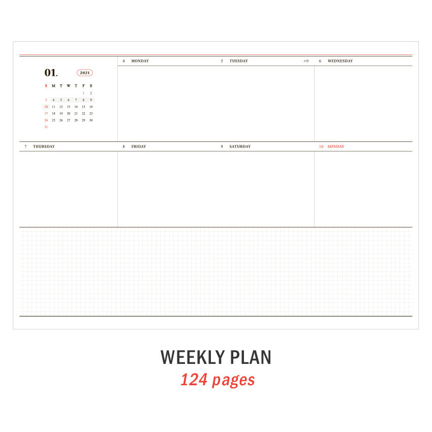 Weekly plan - ICONIC 2021 Journal Journey dated weekly diary planner