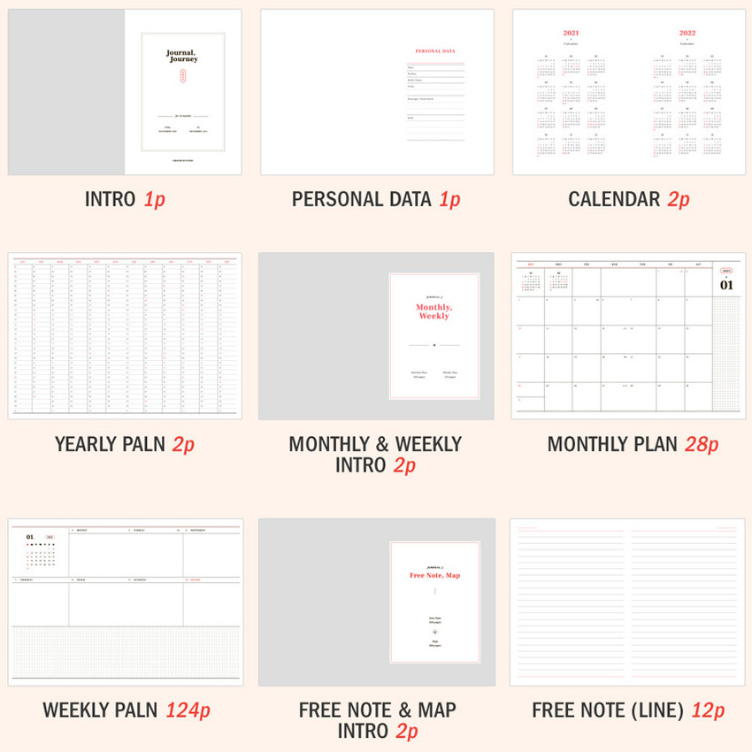 Planner Sections - ICONIC 2021 Journal Journey dated weekly diary planner