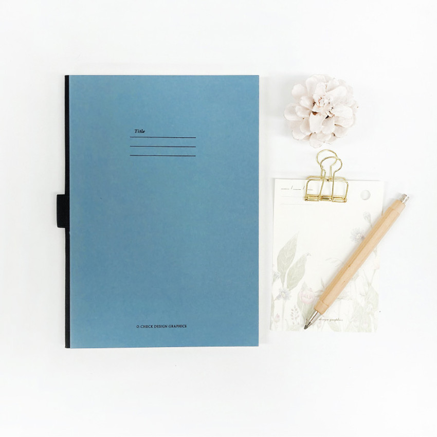 Blue - O-check Hardcover blank notebook with a pen holder
