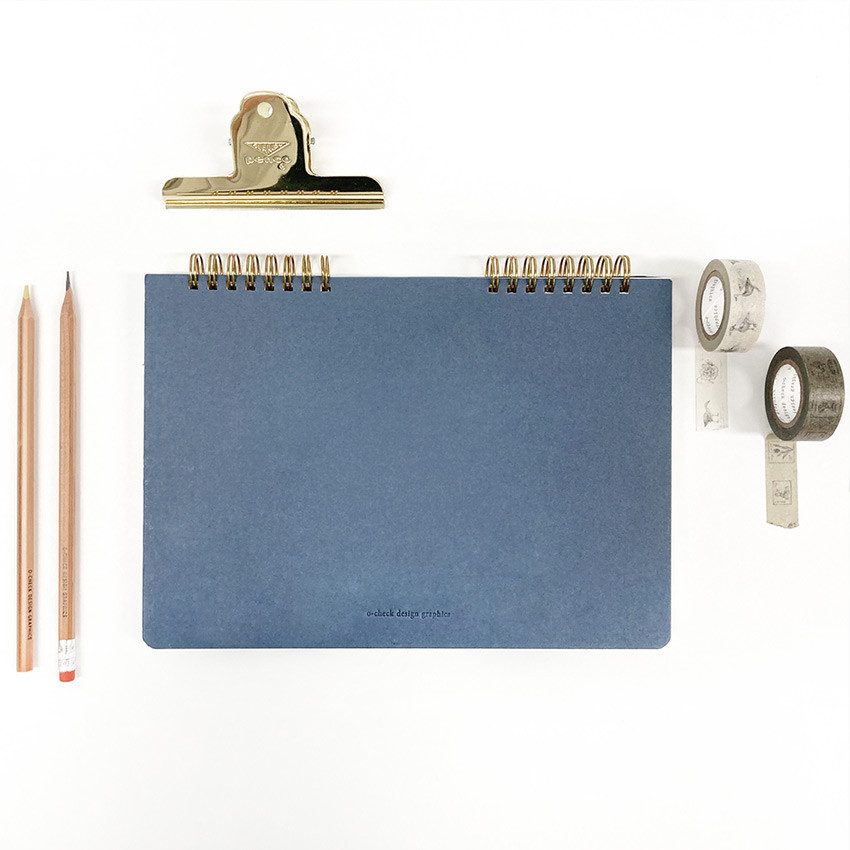 O-check Vintage sky blue twin ring blank notebook