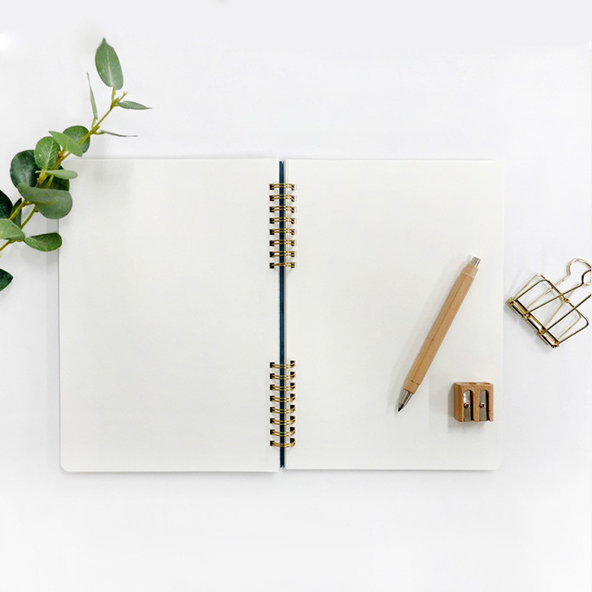 Blank paper - O-check Vintage sky blue twin ring blank notebook