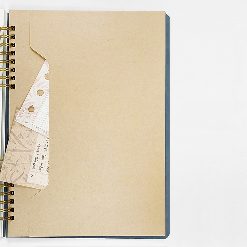 Paper envelope - O-check Vintage sky blue twin ring blank notebook