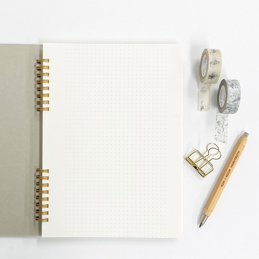 Blank papers - O-check Vintage gray twin ring dots grid notebook