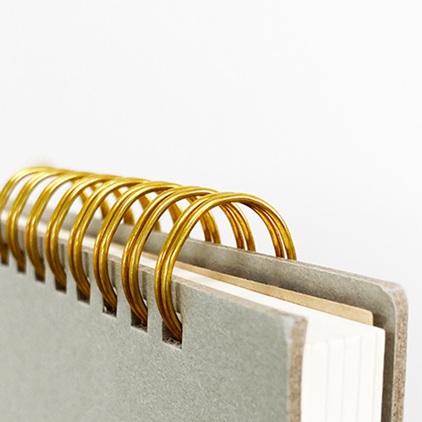 Wire binding - O-check Vintage gray twin ring dots grid notebook