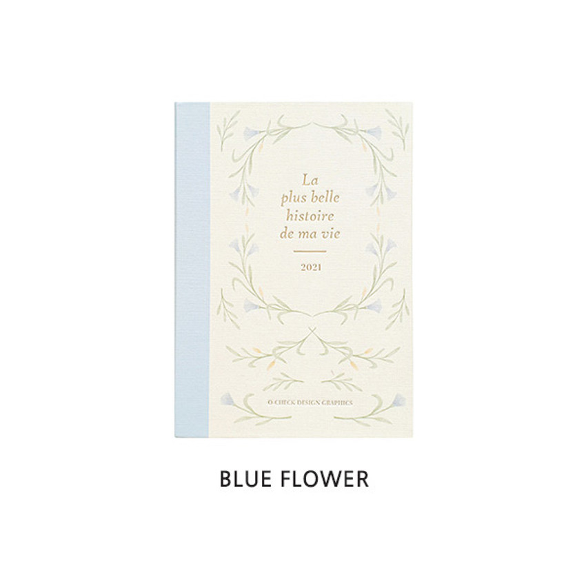 Blue Flower - O-CHECK 2021 Eco friendly A6 dated daily diary planner