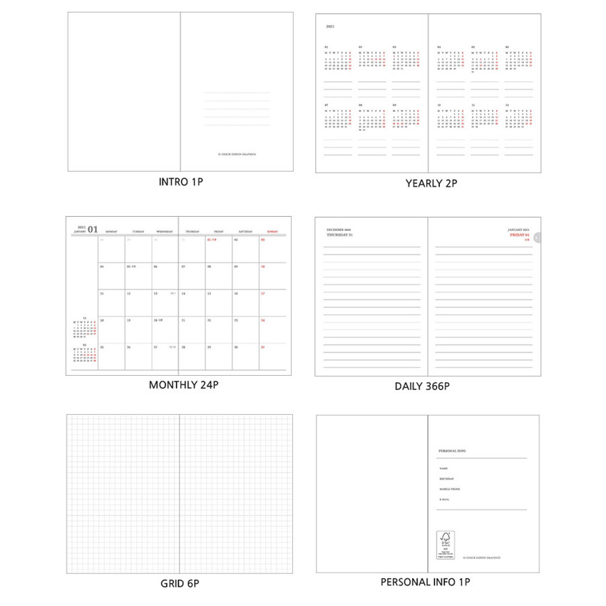 Planner sections - O-CHECK 2021 Eco friendly A6 dated daily diary planner