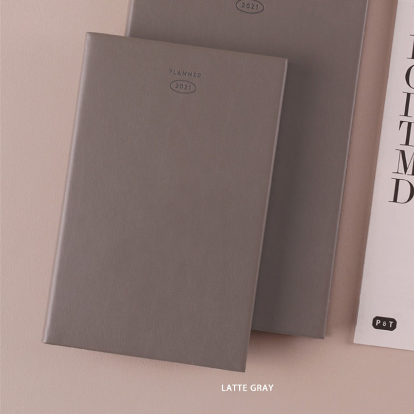 Latte Gray - Dash And Dot 2021 Aesthetic small dated weekly diary planner