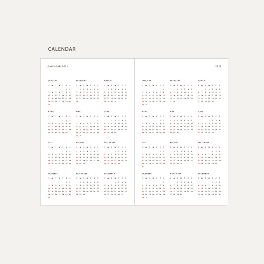Calendar - Dash And Dot 2021 Aesthetic small dated weekly diary planner