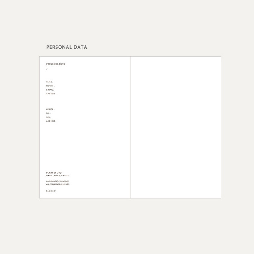 Personal data - Dash And Dot 2021 Aesthetic small dated weekly diary planner