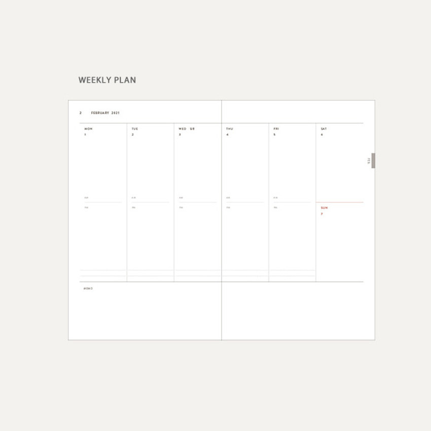 Weekly plan - Dash And Dot 2021 Aesthetic small dated weekly diary planner