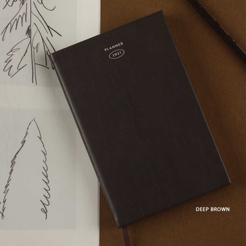 Deep Brown - Dash And Dot 2021 Aesthetic small dated weekly diary planner