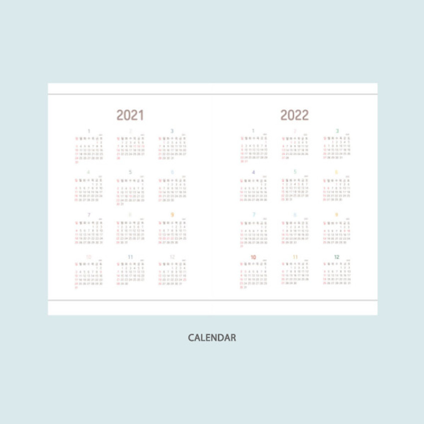 Calendar - DESIGN GOMGOM 2021 Common days dated weekly diary planner