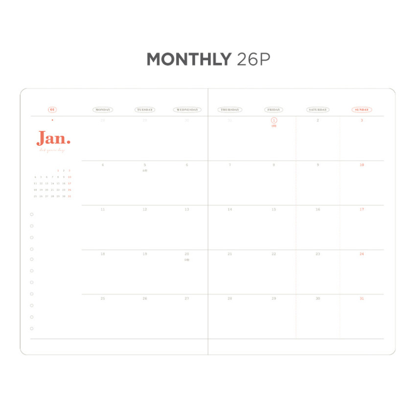 Monthly plan - After The Rain 2021 Dot your day dated weekly diary planner