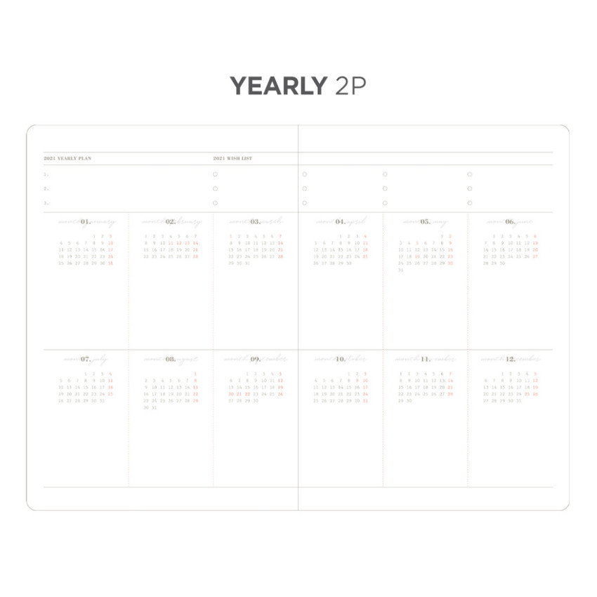Yearly plan - After The Rain 2021 Dot your day dated weekly diary planner