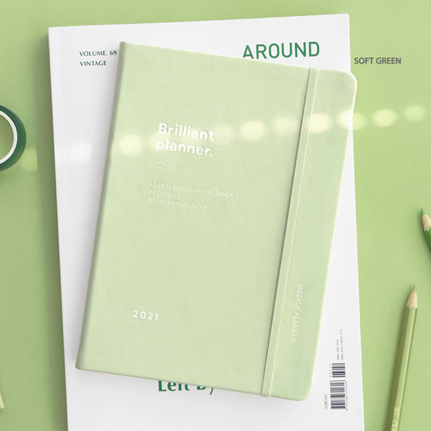 Soft Green - ICONIC 2021 Brilliant dated weekly diary planner