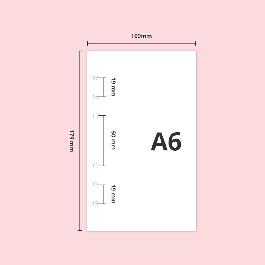 Paper size  - Twinkle transparent A6 6 ring binder cover
