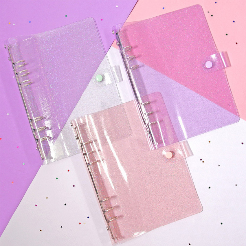 Twinkle transparent A6 6 ring binder cover
