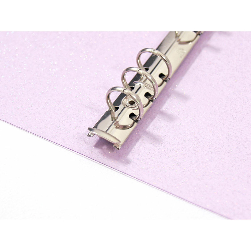 Detail of Twinkle transparent A6 6 ring binder cover