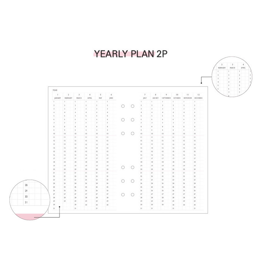 Yearly plan - Second Mansion Love Beat A6 6-ring dateless weekly diary planner