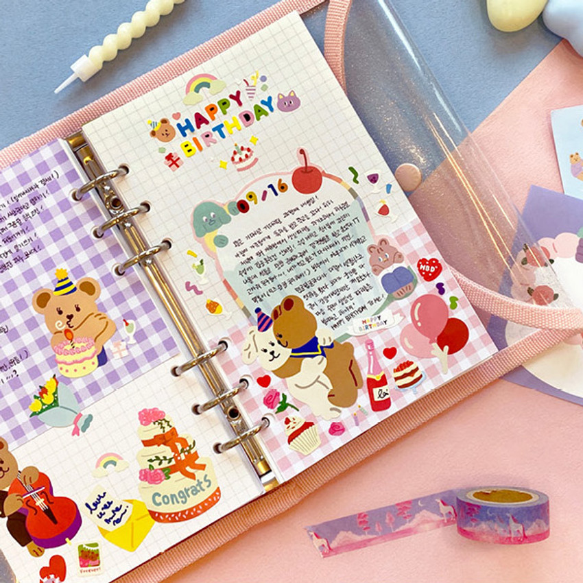 Grid note - Second Mansion Love Beat A6 6-ring dateless weekly diary planner