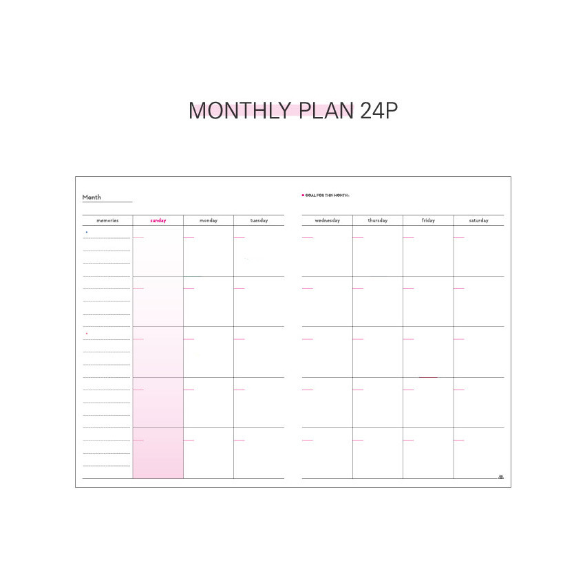 Monthly plan - Second Mansion Cool kids dateless weekly diary planner