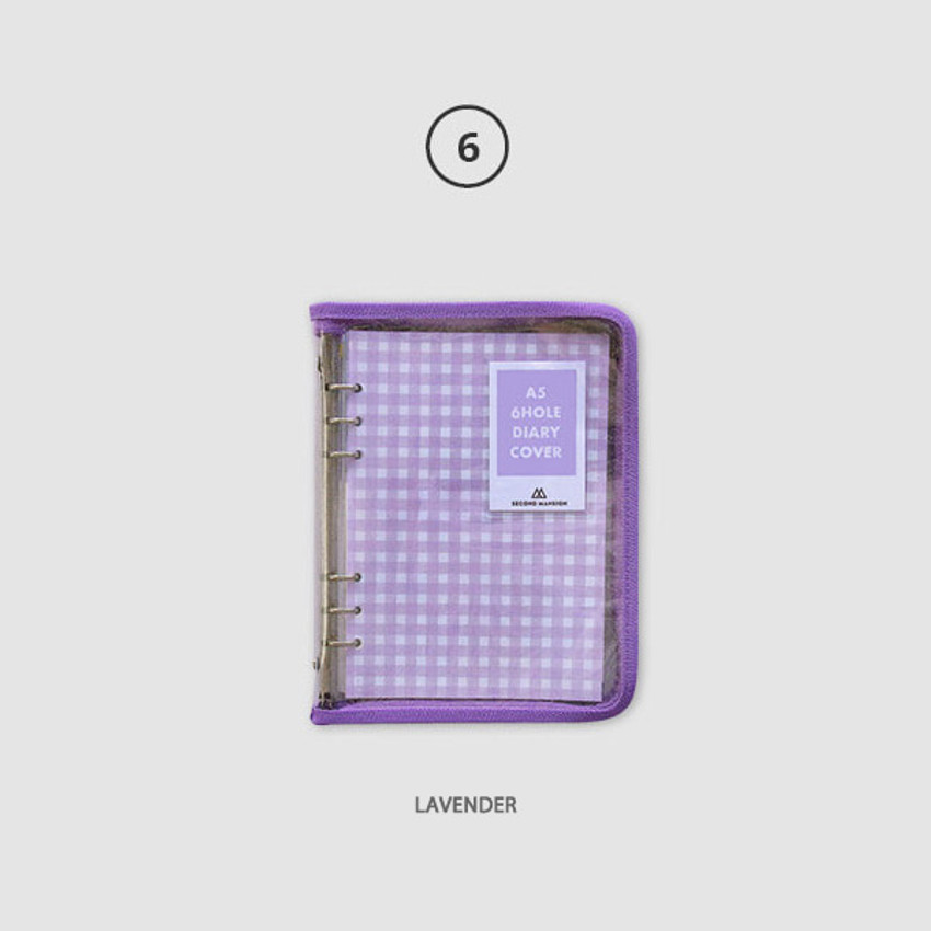 Lavender - Second Mansion Zipper twinkle A5 size 6-ring binder cover