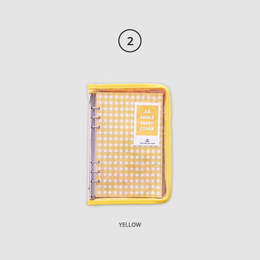 Yellow - Second Mansion Zipper twinkle A6 size 6-ring binder cover