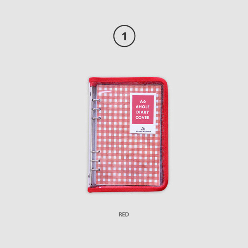 Red - Second Mansion Zipper twinkle A6 size 6-ring binder cover