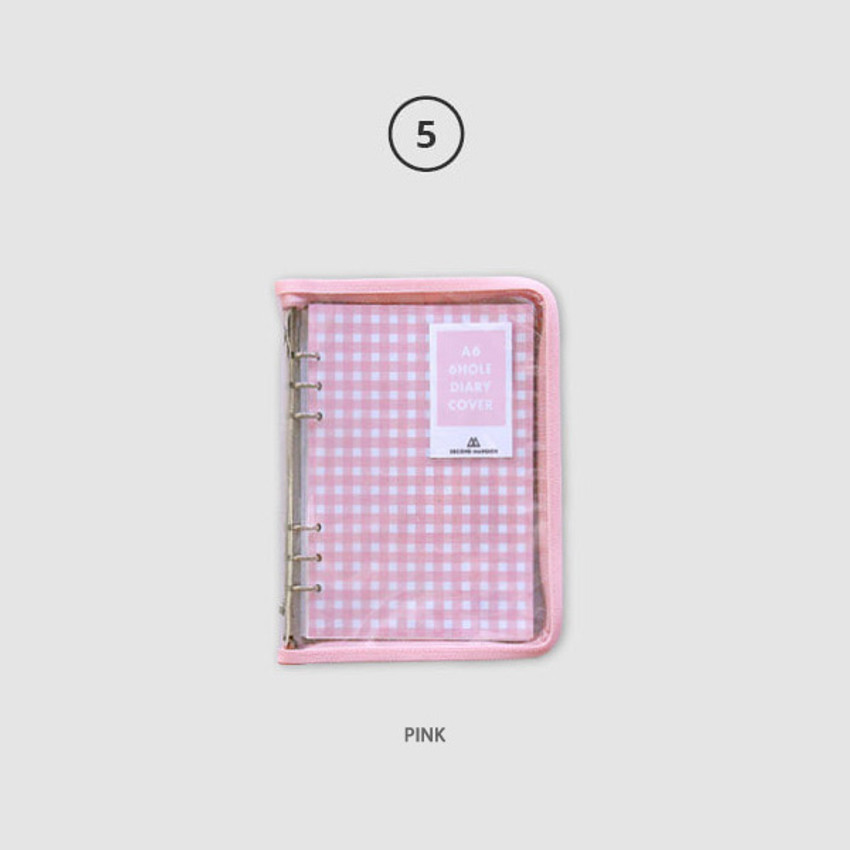 Pink - Second Mansion Zipper twinkle A6 size 6-ring binder cover